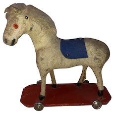 Antique German Felted Platform Horse Pull Toy