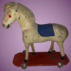 Antique German Felted Platform Horse Pull Toy