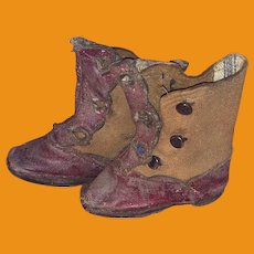 Antique Early Miniature Red Leather Fashion Doll Salesman Sample Boots