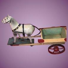 Antique German Paper Mache Stick Leg Putz Horse With Wooden Painted Wagon