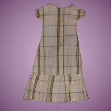Antique Plaid Hand Made Early Doll Dress