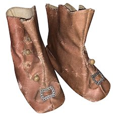 Antique Pink Oil Cloth Doll Shoes