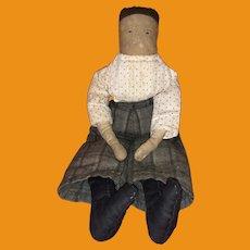 Antique Folk Art Stitched Face Cloth Rag Boy Doll