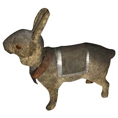 Antique German Paper Mache Flocked Bunny Rabbit Nodder With Dresden Paper Saddle