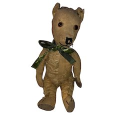 "Antique Jointed Folky 13"" Straw Stuffed Bear"