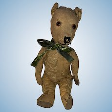"""Antique Jointed Folky 13"""" Straw Stuffed Bear"""
