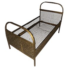 Antique German Miniature Wire Mesh Metal Dollhouse Bed
