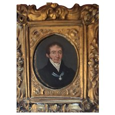 Antique Victorian Early New England Gentleman Watercolor in Original Frame