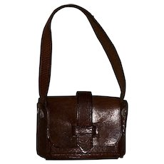 Old Leather Miniature Doll Size Handbag Satchel
