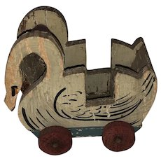 Old Wooden Painted Miniature Dollhouse Swan Cart Pull Toy