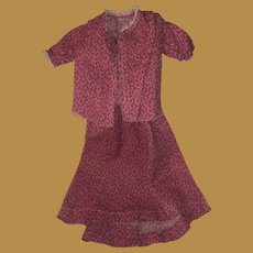 Antique Pink Calico Hand Sewn Doll Skirt and Blouse