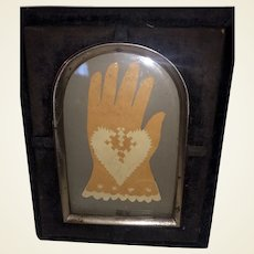 Antique Early Framed Heart and Hand Cut Out