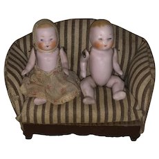Antique German Twin All Bisque Jointed Baby Twin Dolls