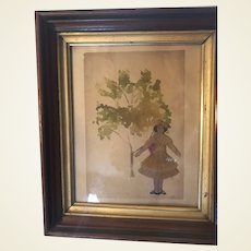 Antique Folk Art Watercolor With Crepe Paper Doll