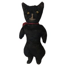 Antique Velvet Folk Art Stitched Face Black Cat With Glass Eyes