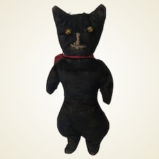 Antique Velvet Folk Art Stitched Face Black Cat With Glass Eyes