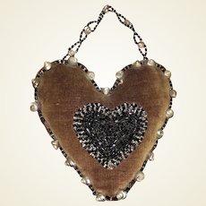 Antique Victorian Velvet Beaded Shell Iroquois Pin Cushion