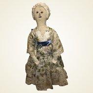 Antique Folk Art 19th Century American Sepia Face Cloth Rag Doll