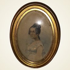 Antique Victorian Pencil Sketched Portrait Early Watercolor