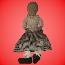 "Antique 26"" Early Folk Art All Original Pencil Face Cloth Rag Doll"