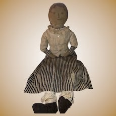 "Antique 26"" Early Folk Art All Original Pencil Face Cloth Rag Doll"