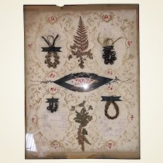 Antique Scherenschnitte Early Folk Art Victorian Family Mourning Memorial Hair Presentation Cut Out