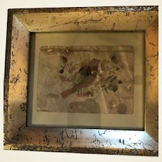 Antique Folk Art American Pencil Sketched Miniature Framed Watercolor New England