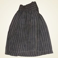 Antique Pin Striped Hand Made Doll Skirt