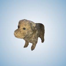 Antique Mohair Shoe Button Eye Straw Stuffed Doggy