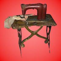 Antique German Miniature Dollhouse Metal Rare Painted Sewing Machine