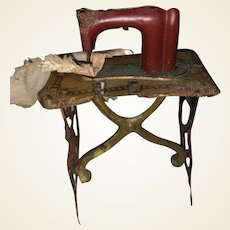 Antique German Miniature Dollhouse Metal Rare Painted Sewing Machine
