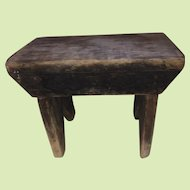 Antique Early Brown Primitive Foot Stool