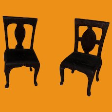 Antique Folk Art Wooden Miniature Dollhouse Pair Of Chairs