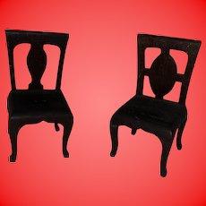 Antique Folk Art Wooden Miniature Dollhouse Pair Of Chairs