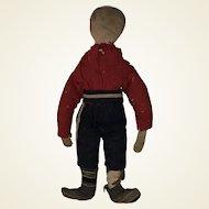 Antique American Folk Art Boy Civil War Era Pencil Face Early Boy Cloth Rag Doll
