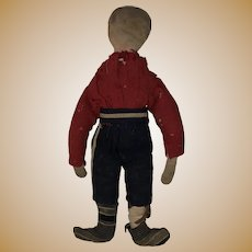 Antique American Folk Art Boy Civil War Era Pencil Face Early Boy Cloth Rag Doll