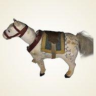 Antique German Paper Mache Nodder Miniature Horse With Dresden Paper Saddle
