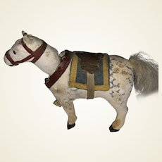 Antique German Paper Mache Nodder Miniature Horse With Dresden Paper Saddle