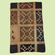 Antique Calico Folk Art Hand Done School Girl Child's Sampler Quilt