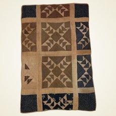 Antique Calico Folk Art Hand Done School Girl Child's Sampler Quilt