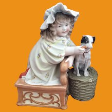 Antique Bisque German Porcelain Girl Feeding Dog Statue