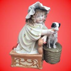 Antique Bisque German Porcelain Girl Feeding Dog Statue