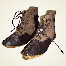 Antique Victorian Lace Two Tone Child's 19th Century Shoe Booties