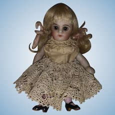 Antique German Glass Eyed All Original Early All Bisque Pocket Doll