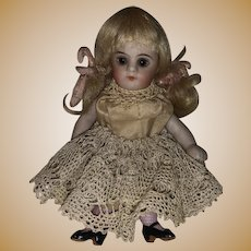 "Antique German Glass Eyed Early All Bisque 4-1/2"" Dollhouse  Doll"