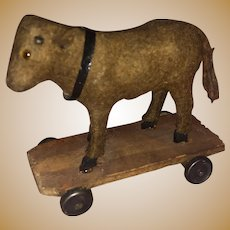 Antique German Miniature Felted Miniature Platform Cow On Wheels
