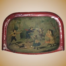 Antique German Victorian Lithogragh Children At Play Serving Display Tray