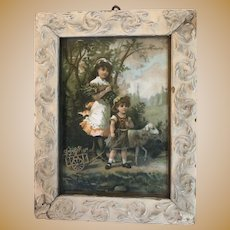 Antique Victorian Early Embossed Lithogragh Framed Image
