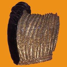 Antique Victorian Early Basket Weave Lined Velvet Trim Bonnet