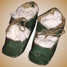 Antique Green Oil Cloth Doll Shoes